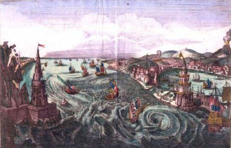 Painting of the Strait of Messina by unknown artist, eighteenth century.