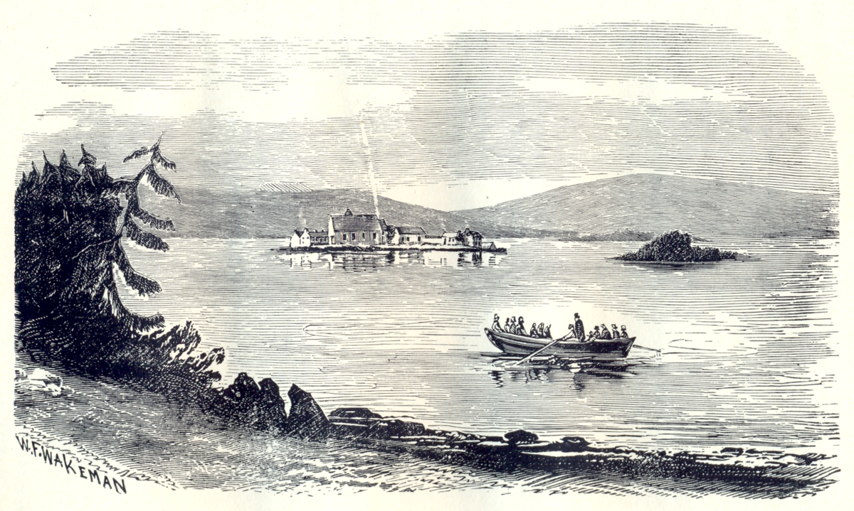 Etching of a boat on a lake by W. F. Wakeman, 1876.