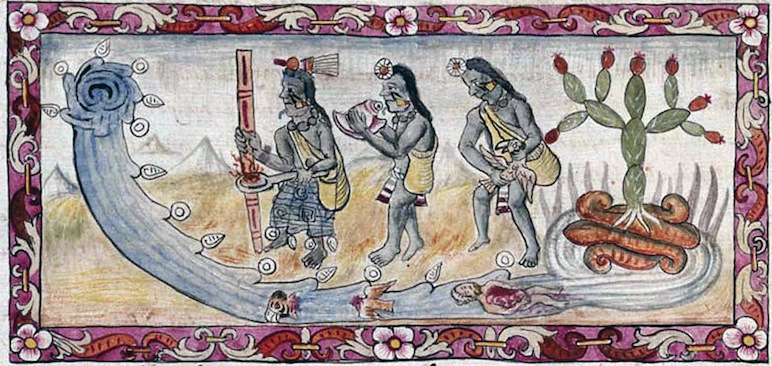 A painting by Frey Diego Durán depicting a ritual to appease the gods for flooding Tenochtitlán, circa 1500s. Public domain.