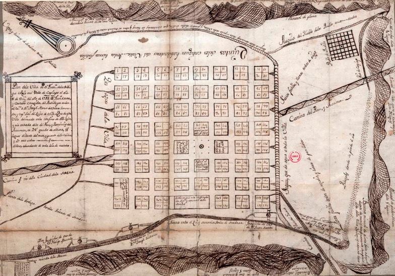 San Francisco de la Selva's Foundational Planning. Unknown cartographer, c. 1744. Public domain.