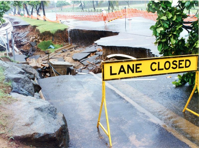 Photograph of damage to Townsville's Strand from heavy rain, January 1998. Used by permission of CityLibraries Townsville, Local History Collection.