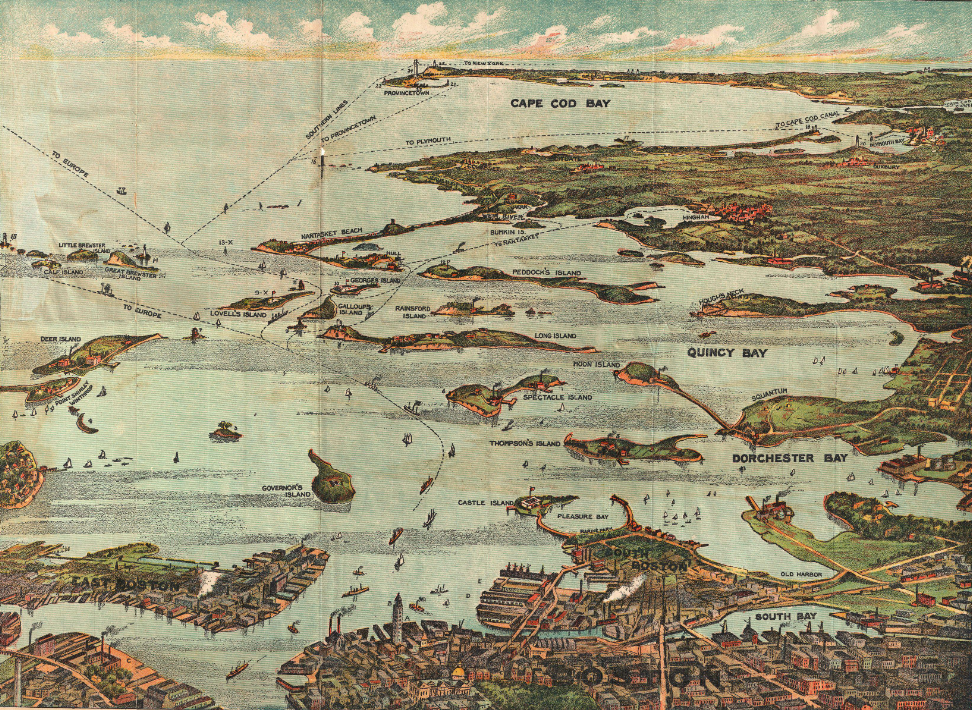 An 1899 bird's-eye view of Boston Harbor. Map by the Union News Company, c. 1899. Public domain.