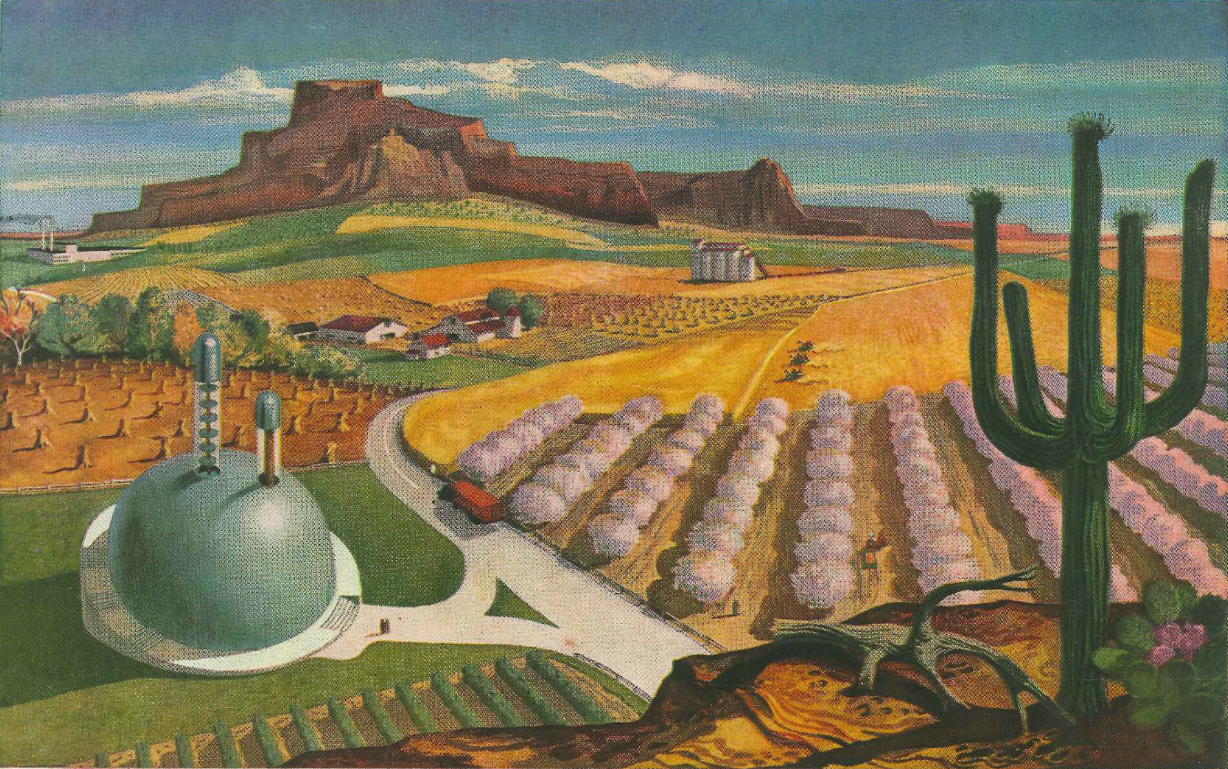 Illustration of a desert landscape with nuclear technology and infrastructure.