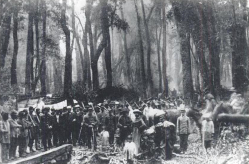 Photo of Chilean troops during the occupation of the Araucanía.