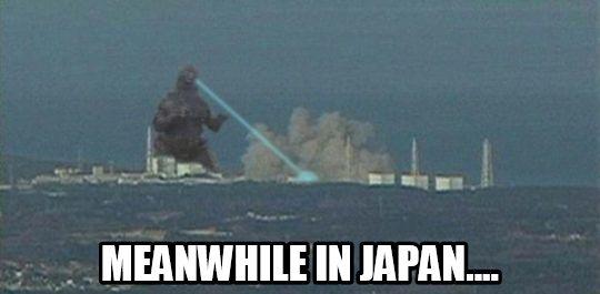 Meme of Godzilla at Fukushima